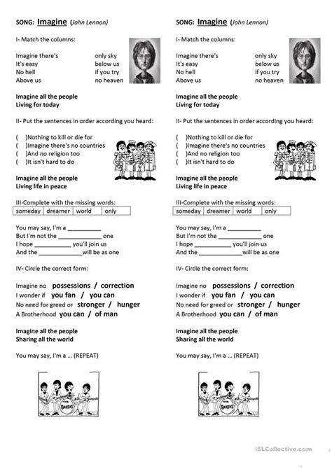 john lennon biography worksheet 14 free esl john lennon worksheets