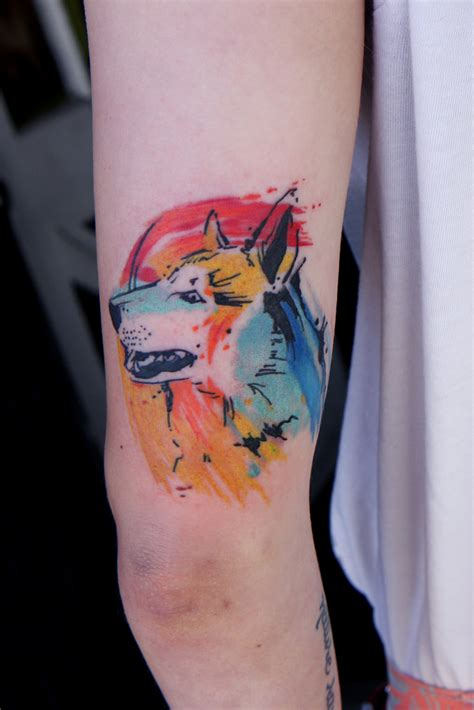 watercolor dog tattoo i tattoo at tattoo boogaloo 528