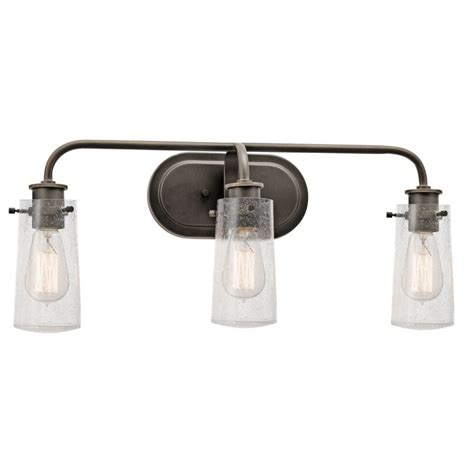 bathroom light fixture shades kichler 45459oz olde bronze braelyn 3 light 24 quot wide