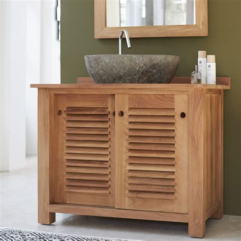 teak wood bathroom furniture tikamoon solid teak wood vanity cabinet wash stand modern