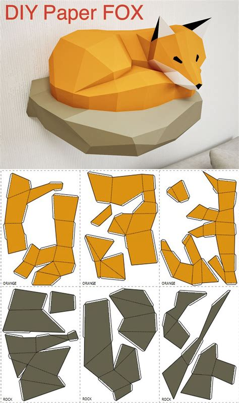 3d Papercraft Template - diy papercraft fox 3d paper model on the wall diy home