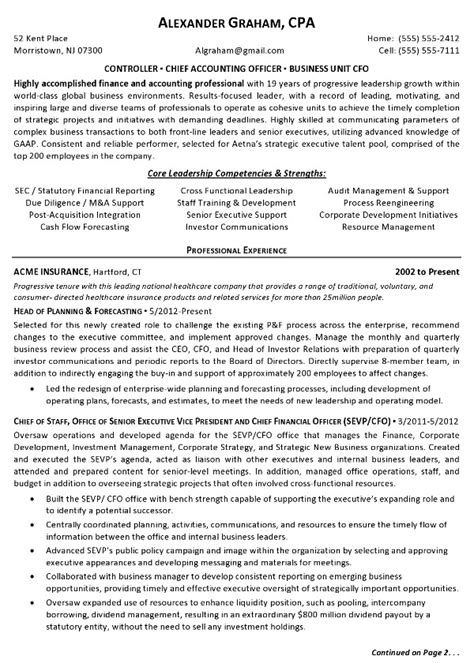 controller resume exles resume sle 3 controller chief accounting officer