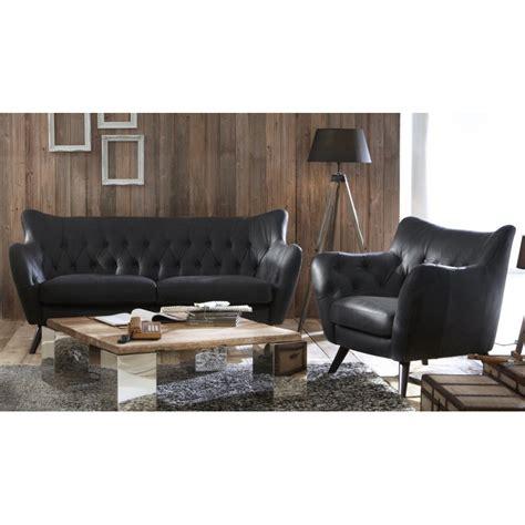 canape cuir noir canape cuir vintage noir 2 places mister canap 233