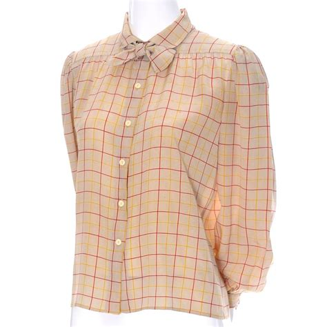 Tartan Bow Top valentino vintage blouse silk plaid italy bow top for sale at 1stdibs
