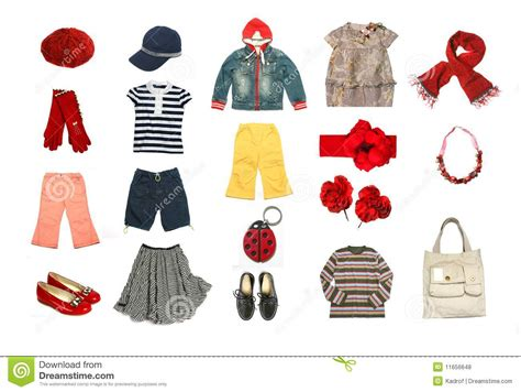 Dress Kid By Z Shop clothes and accessories set royalty free stock photos