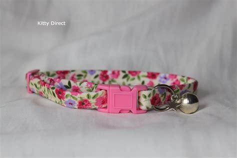 Handmade Cat Collars - handmade 100 cotton flower cat kitten safety collar