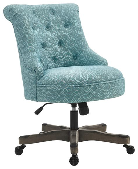 sinclair office chair light blue gray wash wood base