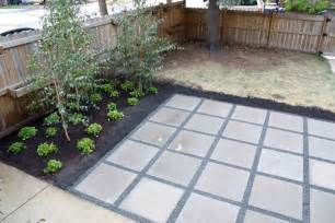 backyard patio with concrete pavers 2 x2 simple