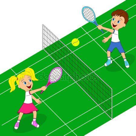 dibujos de niños jugando tenis vectores de stock de ni 241 o y ni 241 a jugando tenis