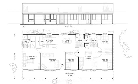 4 bedroom rectangular house plans earlwood 4 met kit homes 4 bedroom steel frame kit
