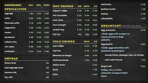 custom digital menu  chalkboard design  menuatcom