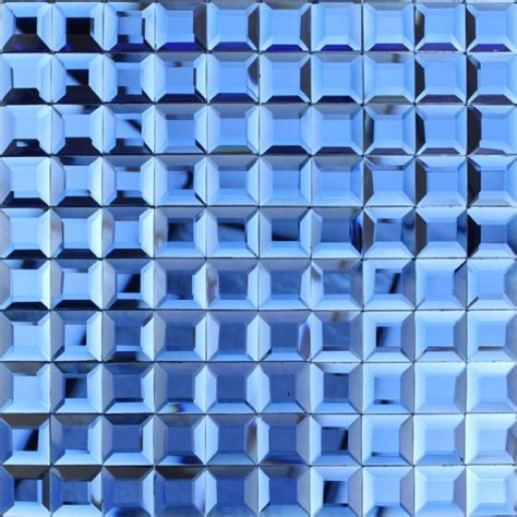 blue glass mosaic tile backsplash pyramid 3d shower wall