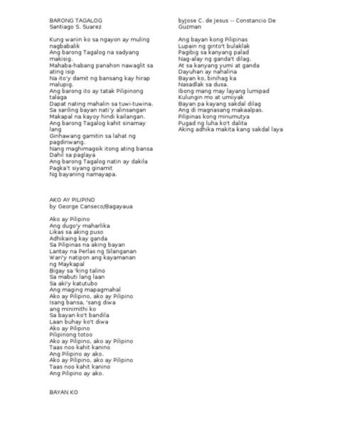 song lyrics tagalog makabayan song lyrics