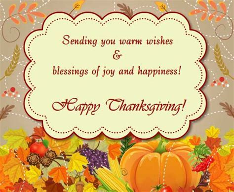 A Warm Thanksgiving Wishes  Free Business Greetings