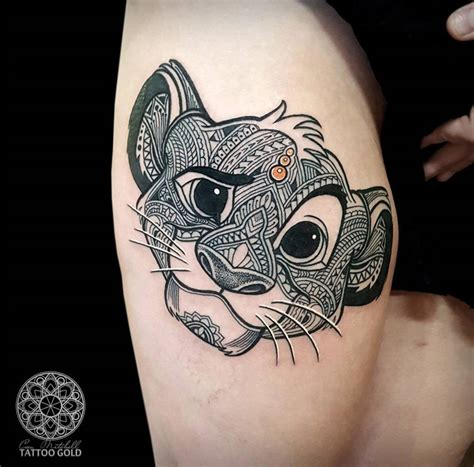 mosaic simba girls thigh tattoo best tattoo design ideas