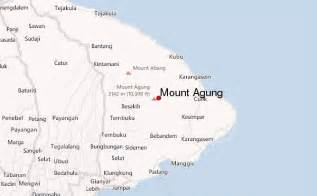 where is located on a map mount agung mountain information