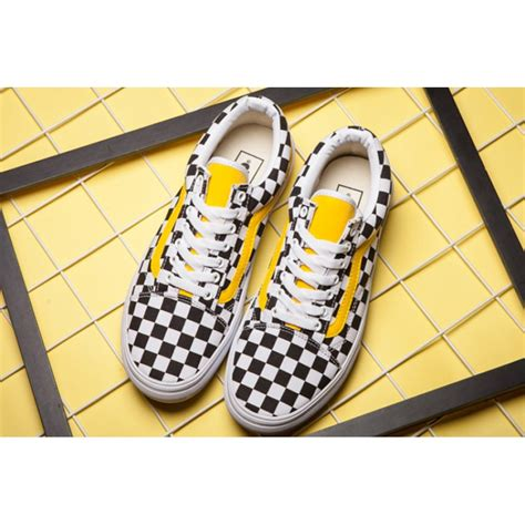 pattern old skool vans vans classic checkerboard old skool skateboard yellow