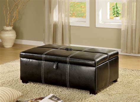 ottoman with bed appoline black leatherette ottoman with pull out bed from
