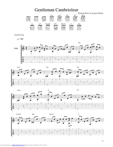 jacques dutronc guitar tabs gentleman cambrioleur guitar pro tab by dutronc jacques