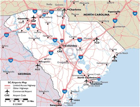 airports in carolina map map of south carolina commercial airports