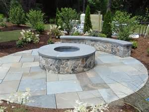Outdoor Patio Set With Fire Pit Stone Fire Pit With Bench Yard Pinterest