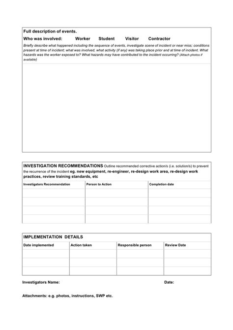 incident near miss investigation form template in word and