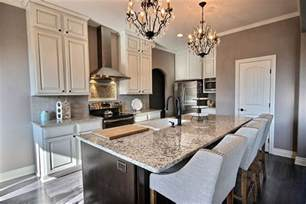 High Top Kitchen Island - small luxury kitchen with blanco tulum granite counters designing idea