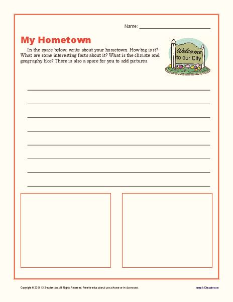 hometown writing prompt    grade lesson planet