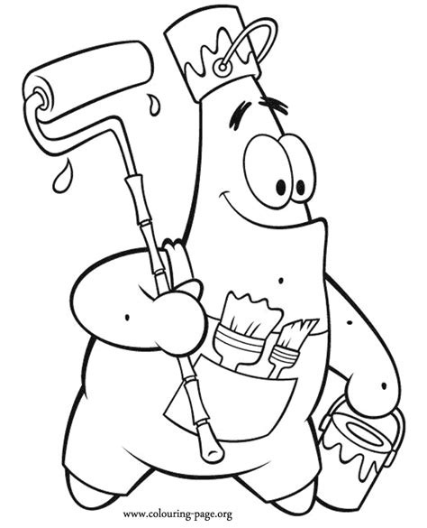 spongebob squarepants patrick star as a painter coloring