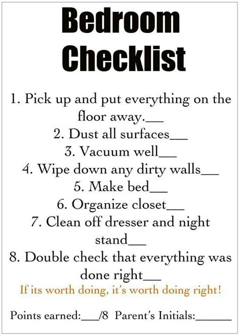 bedroom cleaning checklist bedroom cleaning check list kid s room pinterest
