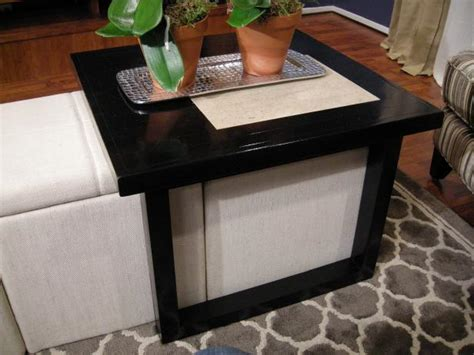 over ottoman table build a coffee table to fit over storage ottomans hgtv