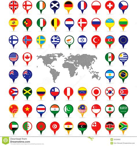 flags of the world map pins world flags on map pins stock photography image 35326892