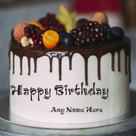 write name on happy birthday fruit cake with name edit