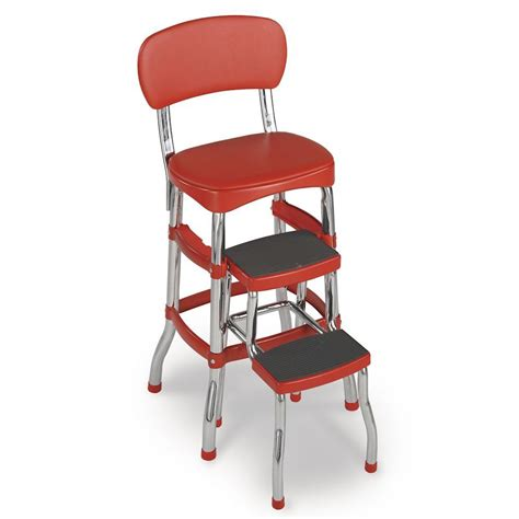 bar stool chairs for the kitchen red folding step stool chair chrome metal retro vintage