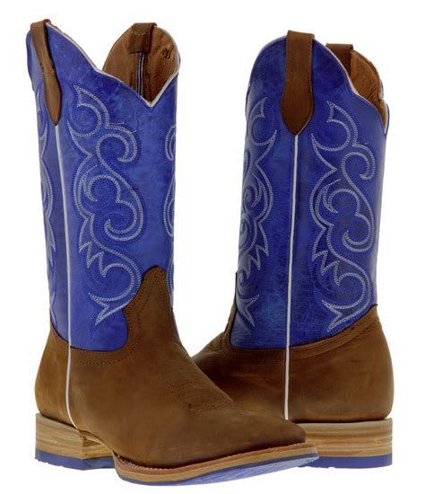 Sepatu Country Boots Casual Brown Originla Handmade s brown blue western leather cowboy boots rodeo two tone square toe ebay