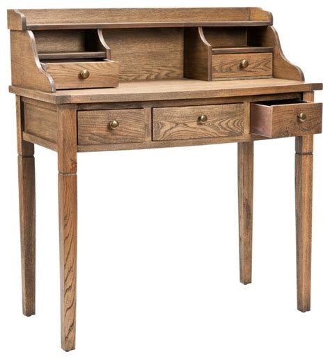 landon desk with hutch oak safavieh landon writing desk oak transitional desks