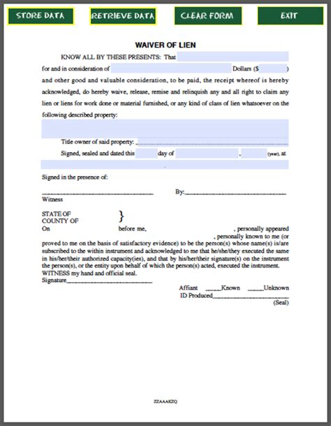 waiver of lien certificate template free fillable pdf