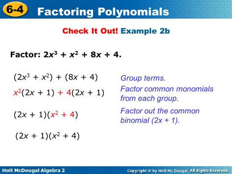 Factor The Common Factor Out Of Each Expression Worksheet by Factoring Polynomials Ppt