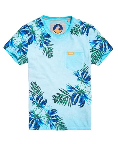 Quiksilver T Shirt Bluish Grey With Motif Pocket Kaos Quiksilver superdry s california tropical print pocket t shirt in blue for lyst