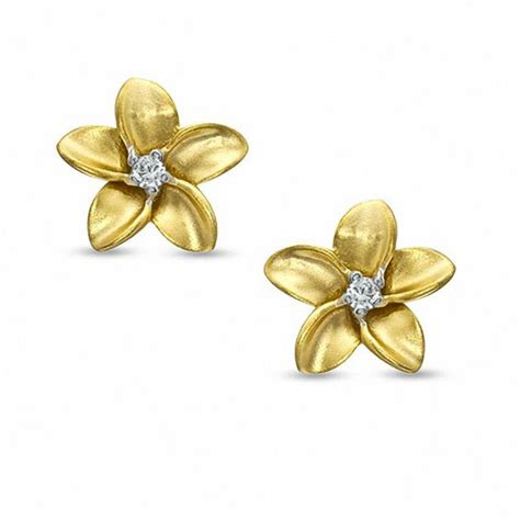 Flower Accent Earrings accent solitaire flower stud earrings in sterling