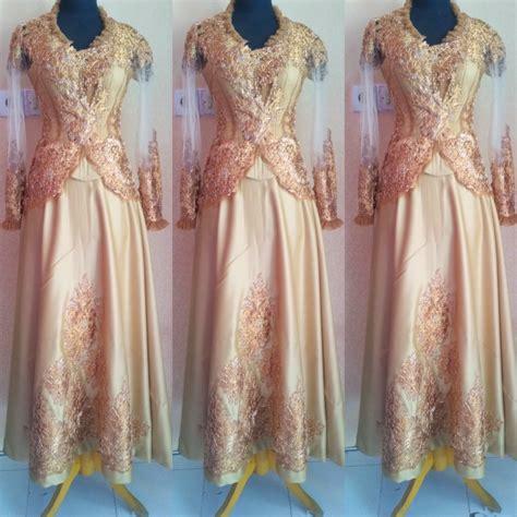 Kebaya Shanghai Warna Gold kebaya panjang warna emas dengan rok lingkar