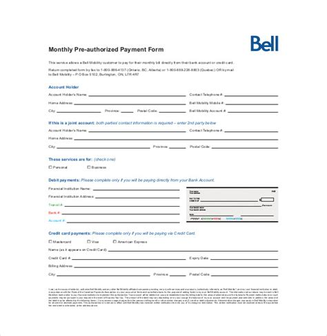 Agreement Templates Pre Authorized Payment Form Template Rbc