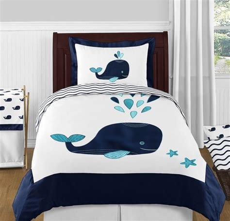 whale comforter set blue whale 4pc twin boy or girl bedding set by sweet jojo