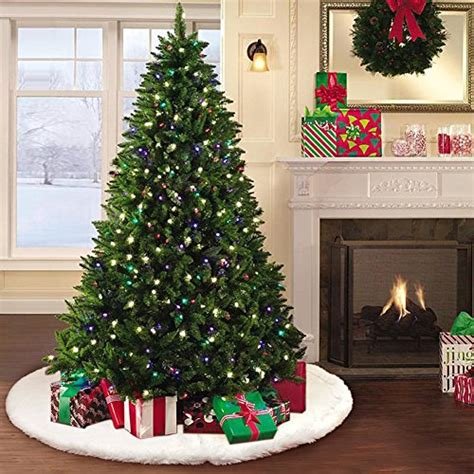 white furry fluffy christmas trees aerwo faux fur tree skirt 48 inches snowy white tree skirt for decorations