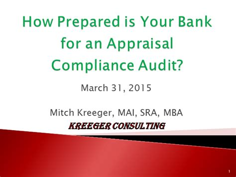 Mba Appraisal Services Inc by How Prepared Is Your Bank For An Appraisal Compliance Audit