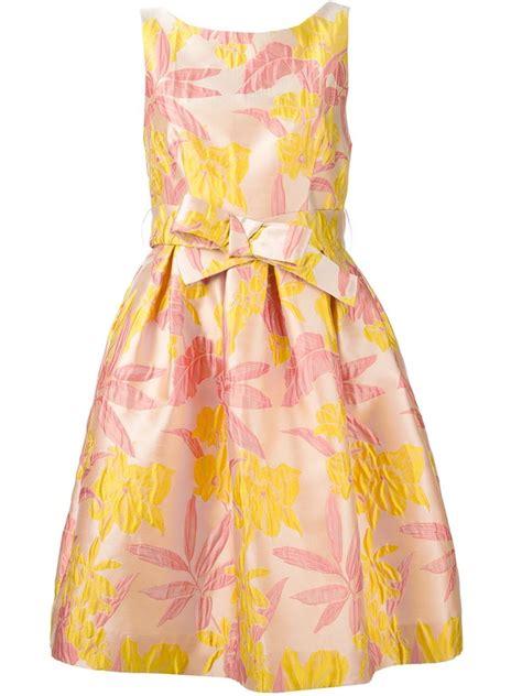 Brocade Flower Dress Mini Dress lyst p a r o s h floral brocade dress in pink