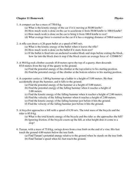 Energy And Worksheet Answers by 14 Best Images Of Worksheets Potential And Kinetic Energy