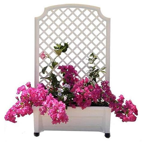Plastic Garden Planters With Trellis by Square Planter Box With Trellis In White Plastic With