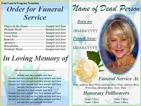 Funeral Program Template Microsoft Word 5 Free Funeral Program Template For Word Teknoswitch