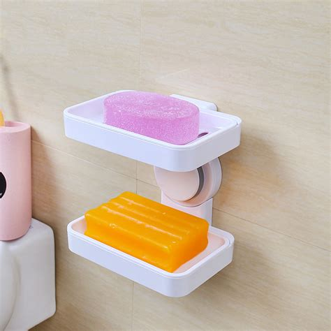 bathroom soap and shoo holder seamless double deck suction cup soap holder bath soap